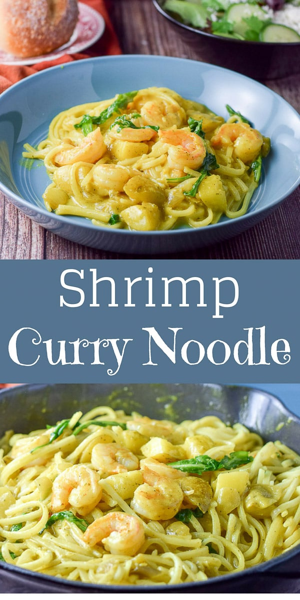 Sensational Shrimp Curry Noodle has such a lovely taste. It is so flavorful and delicious that you could eat it without the noodles but would you want to? #seafood #shrimp #curry #noodles #dishesdelish #dishesdelishrecipes https://ddel.co/shrcuno
