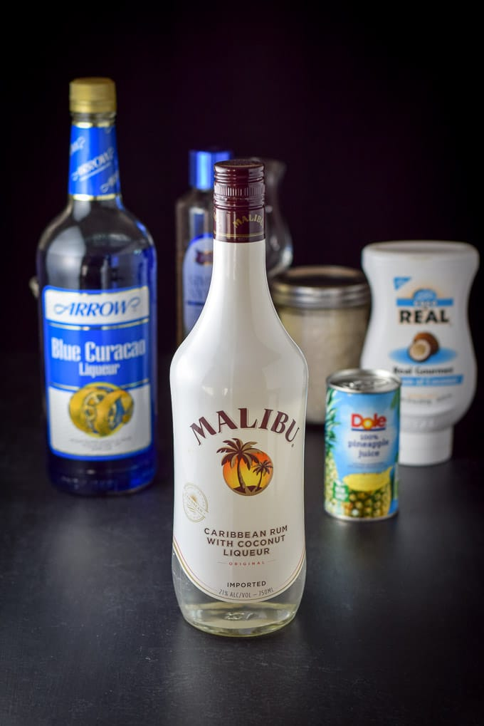 Coconut rum, blue Curacao, cream of coconut and pineapple juice for this year round Jack Frost cocktail