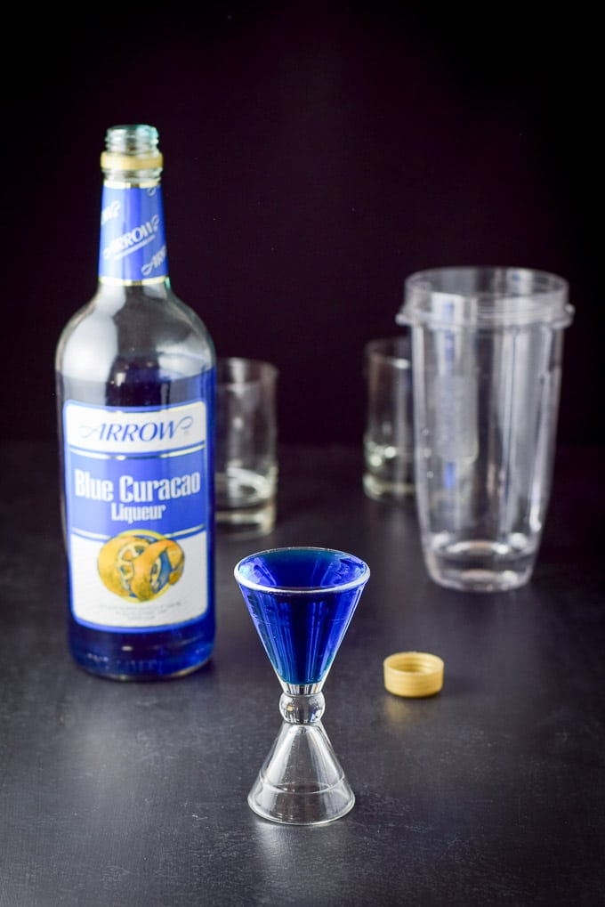 Blue Curacao poured out for the year round Jack Frost Cocktail