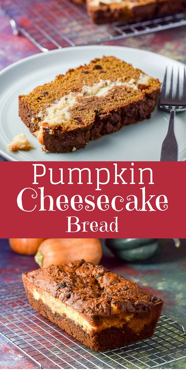Layered Pumpkin cheesecake bread is delightfully delicious and pretty to serve for the holidays. Or you can make this year round, it's that good! #pumpkin #pumpkinbread #cheesecake #dishesdelish #bread #dishesdelishrecipes https://ddel.co/ppccbrd