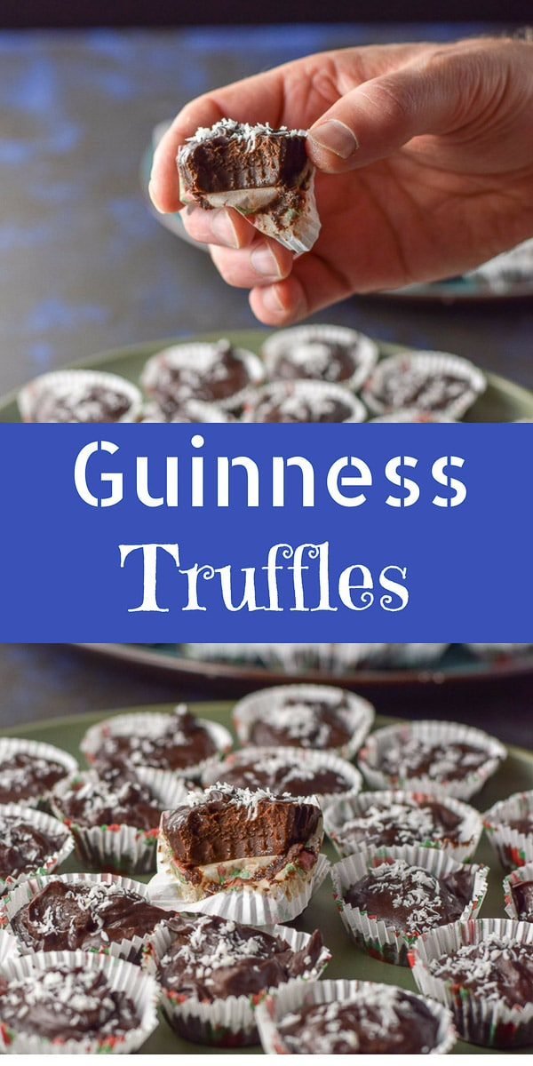 Guinness Chocolate Truffles are a fun treat. They only have 4 ingredients and are fudgy and satisfying. You'll want to hide a few of them because everyone wants to eat them. #guinness #chocolatetruffles #truffles #dishesdelish #dishesdelishrecipes https://ddel.co/gctrffls