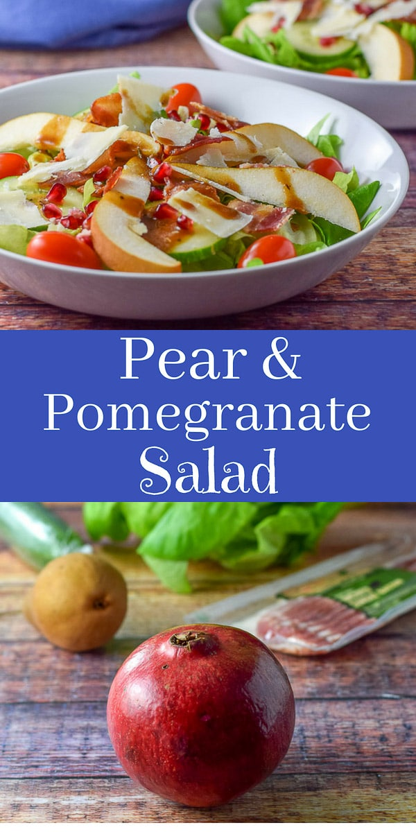 This pretty #pear #pomegranate #salad is a nice change from eating heavily at the holiday season! It's so yummy and pretty. Perfect to serve at your next dinner party! #pear #pomegranate #salad #dishesdelish #dishesdelishrecipes https://ddel.co/prpmsld