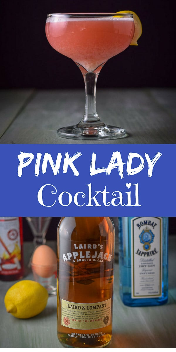 The Pink Lady Cocktail isn't just pretty, it's delicious as well. Don't let the color fool you, men like it too! #pinklady #pinkladycocktail #cocktail #drinks #dishesdelishcocktails https://ddel.co/pkldy
