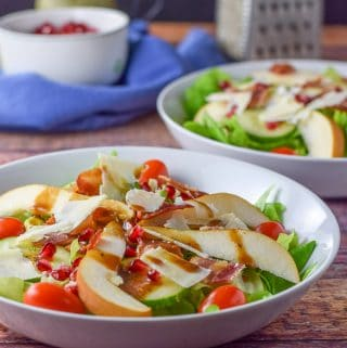 Balsamic dressing on the pretty pear pomegranate salad