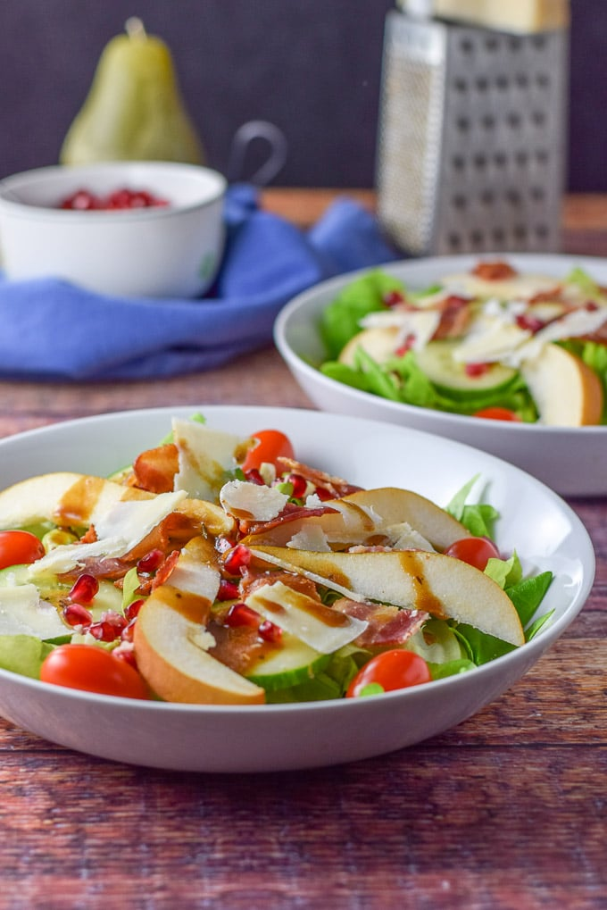 Balsamic dressing on the pretty pear and pomegranate salad