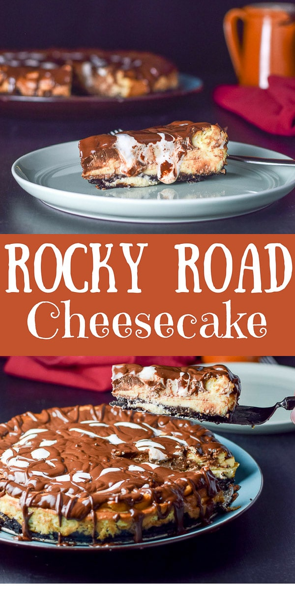 Decadent rocky road cheesecake is so delcious that you will want to do a little jig when you eat it!  At least that's what I want to do! #rockyroad #cheesecake #dessert #dishesdelish #dishesdelishrecipes https://ddel.co/drrchck