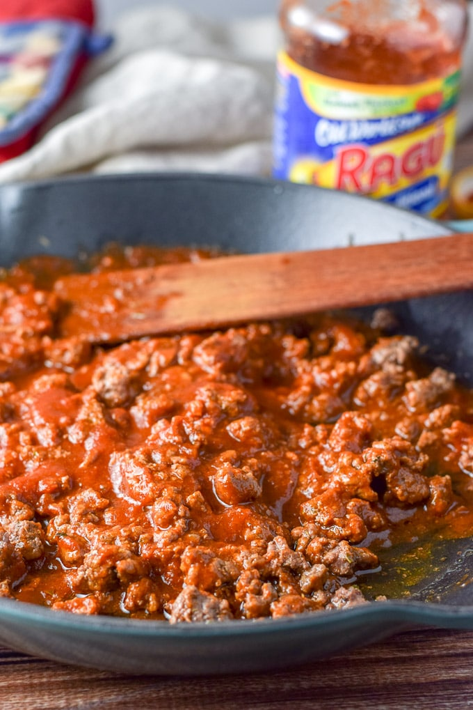 RAGÚ mixed in with the beef for the saucy beef appetizer