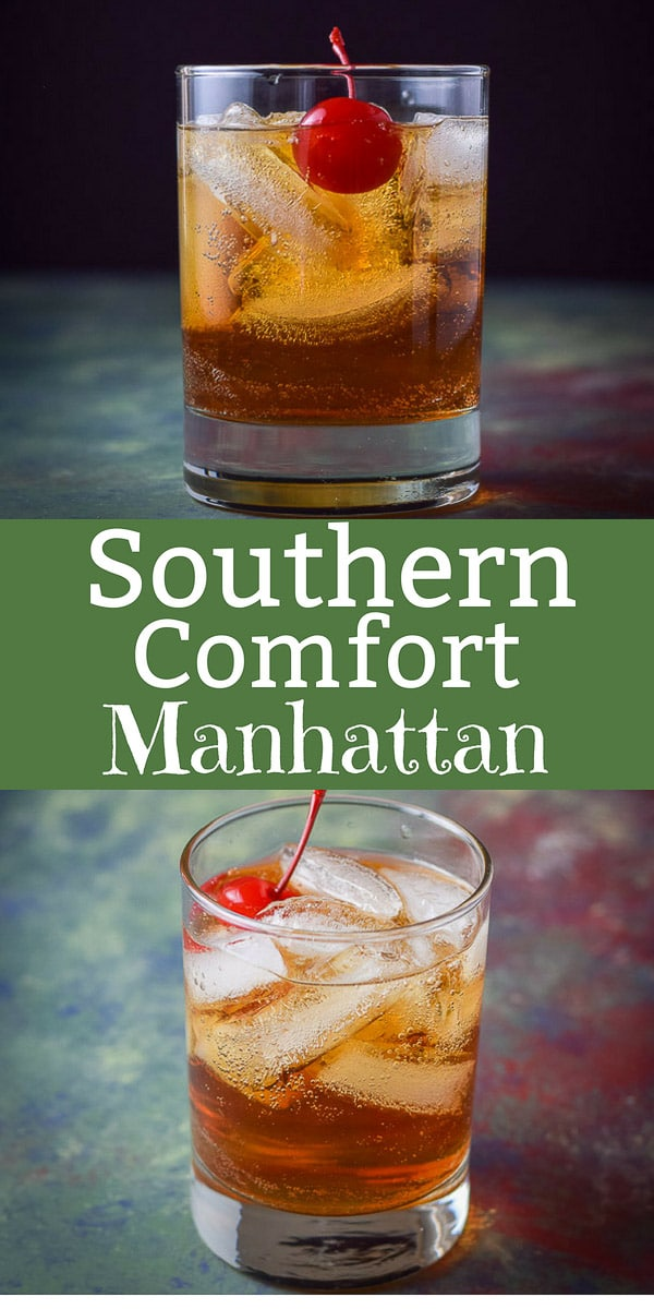 This Southern Comfort Manhattan is super delicious and perfectly balanced. There are only 3 ingredients that make this such a tasty drink! #southerncomfort #manhattan #dishesdelish #cocktail