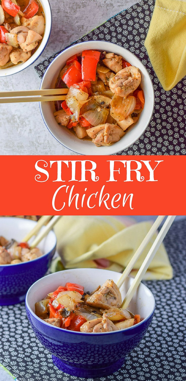 This Simple Stir Fry Chicken is so delicious! It's saucy and filled with vegetables! So delicious! Eat it plain or dollop some over some rice! #stirfry #chicken #stirfrychicken #dishesdelishrecipes https://ddel.co/sstfc
