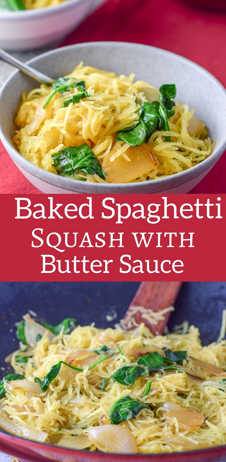 Spaghetti Squash with Sauce is a perfect main dish or nice side dish! It's so satisfying to eat because of how flavorful it is! I believe it's all in the butter sage sauce! #bakedspaghettisquash #spaghettisquash #dishesdelishrecipes https://ddel.co/ssws