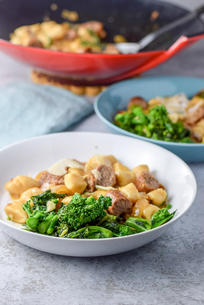 Broccoli rabe up front and center with some gnocchi and sausage