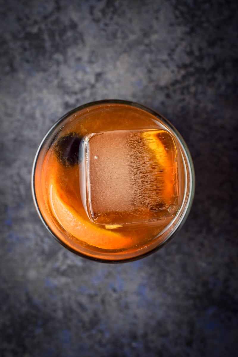 Overhead view of the finished classic old fashioned cocktail recipe