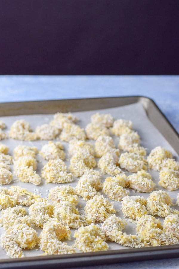Shrimp coated in the coconut panko mixture for the baked coconut shrimp
