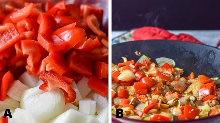 Vegetables cut up and sauteed for the simple stir fry chicken