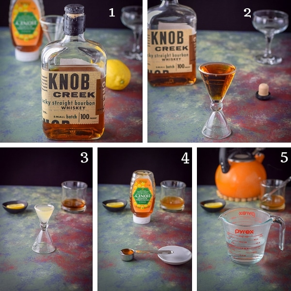 Collage of process shots for the hot toddy