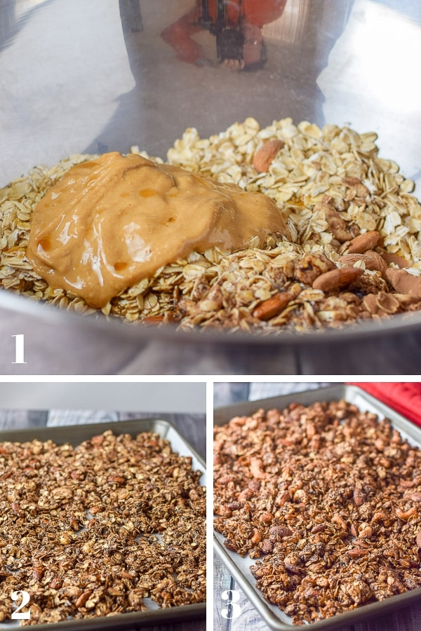 Collage of process shots for the peanut butter granola