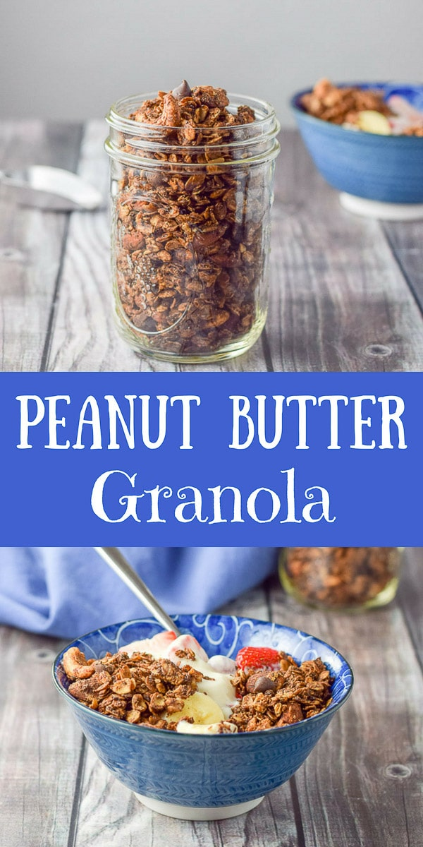 Crunchy Chocolate Peanut Butter Granola is delicious and decedant! I love to heap it on yogurt and fruit! You will too! #granola #breakfast #peanutbuttergranola #dishesdelishrecipes https://ddel.co/ccpbg