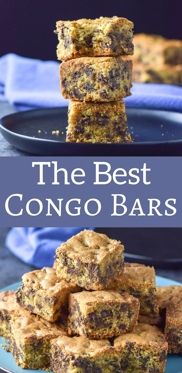 These are the best congo bars I've ever had! I love how nice and thick they are! These are the ultimate chocolate chip squares, for reals! #chocolatechipsquares #congobars #dessert #dishesdelishrecipes #dishesdelishdessert https://ddel.co/bcb