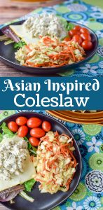 This fun inspired Asian coleslaw is not your average coleslaw recipe!! The secret is in the peanut butter dressing. So delicious!