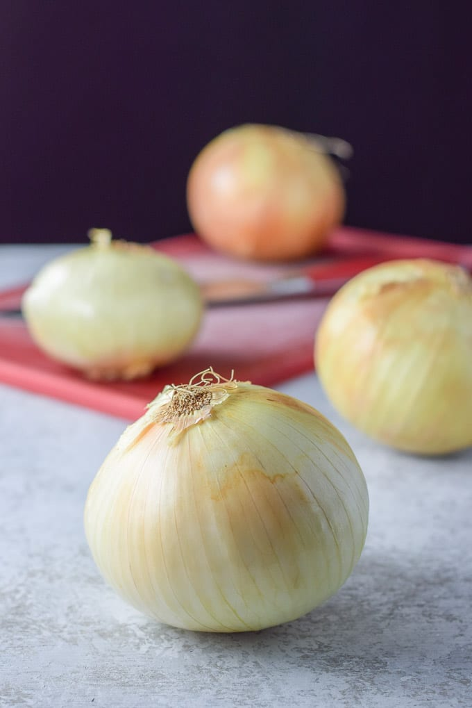 Vidalia onions ready to be sliced up for the easy French onion soup