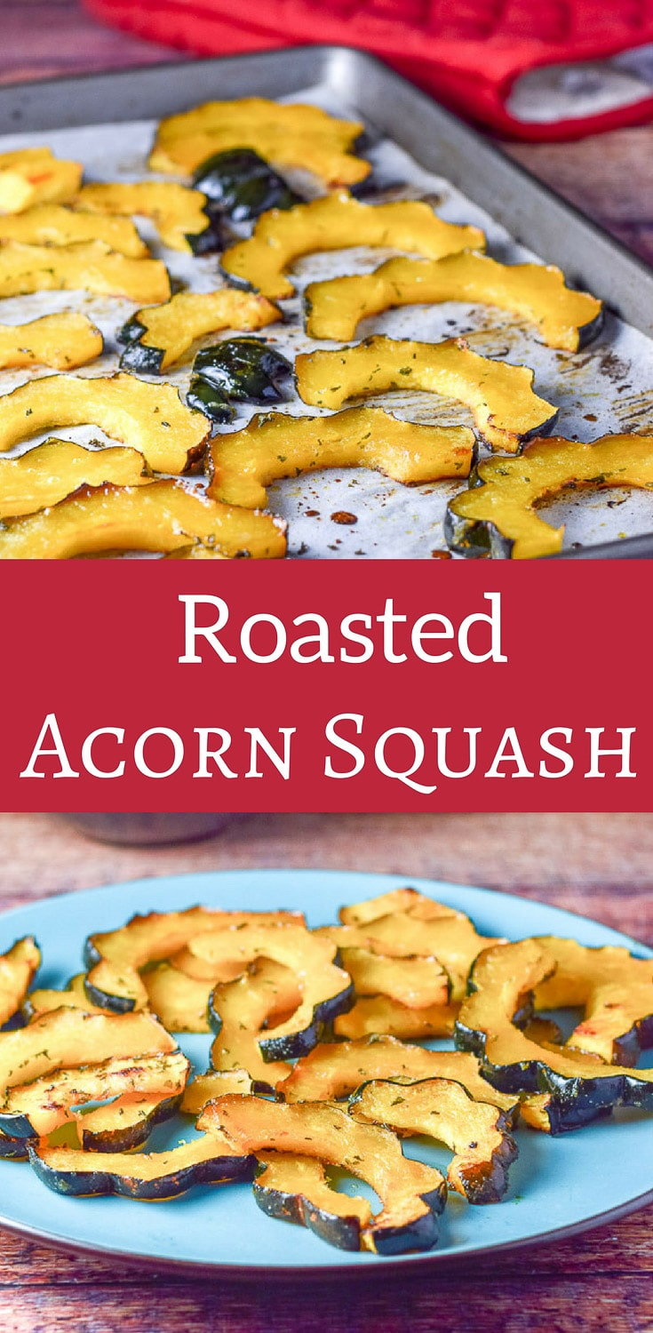 Simple roasted acorn squash is so delicious that it makes the perfect side dish!  I love to have it on a salad as well! #acornsquash #roastedacornsquash #vegetarian #dishesdelishrecipes https://ddel.co/srac