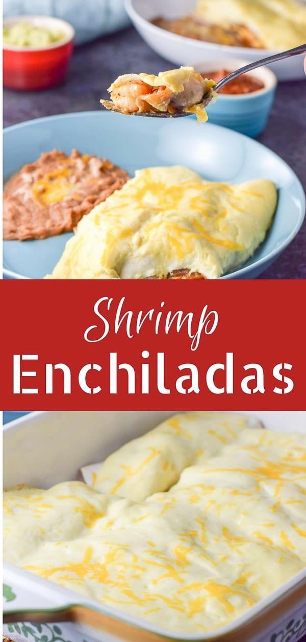 These shrimp enchiladas are a perfect addition to your Cinco de Mayo celebration. Succulent shrimp nestled with veggies in a flour tortilla and smothered with sour cream sauce! #shrimp #seafood #shrimpenchiladas #enchiladas #cincodemayo #dishesdelishrecipes https://ddel.co/shmpench