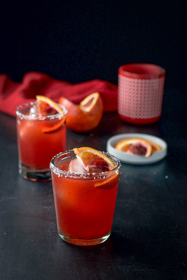 Another view of the blood orange margarita looking pretty and ready to be consumed