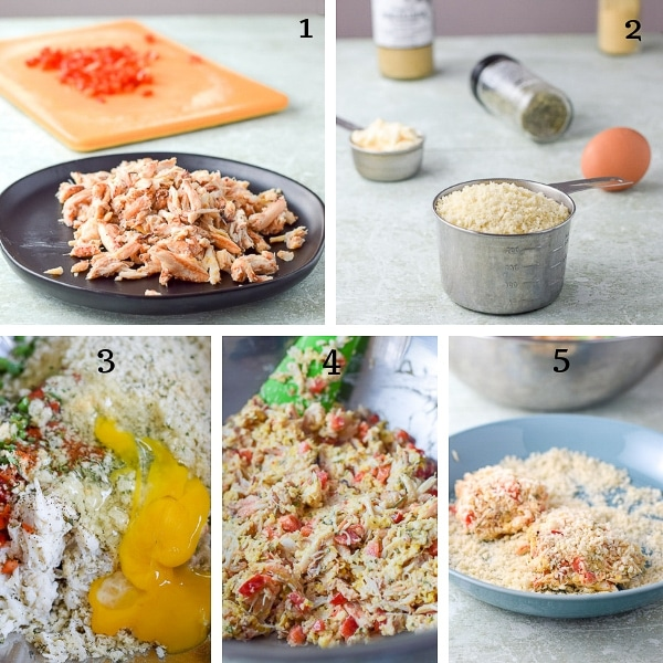 Collage of process shots for the Maryland Crab Cakes