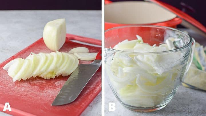 The sliced onions for the easy French onion soup