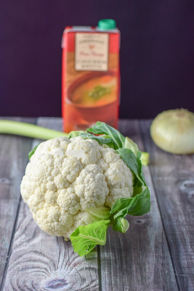Cauliflower, onion, celery and broth for the easy cauliflower soup