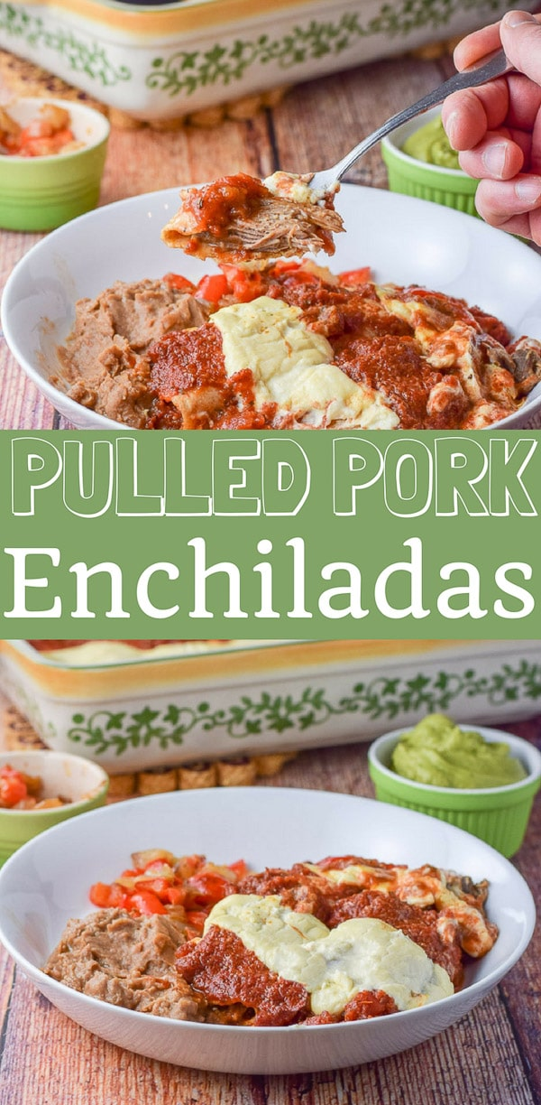 Pulled pork enchiladas are so easy! You use leftover pulled pork. I use two sauces on it but you can use one! The pulled pork is so incredibly tasty and succulent! #pulledpork #enchiladas #mexicanfood #dishesdelishrecipes https://ddel.co/ppe