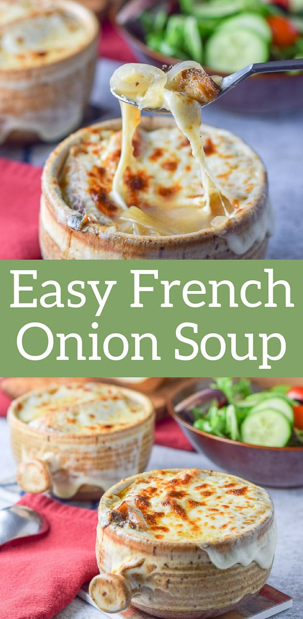 This easy French onion soup is so delicious. It take less time than the original recipe.  The trick is you don't NEED to caramelize the onions to make it be delicious! #frenchonionsoup #soup #delicious #comfortfood #dishesdelishrecipes https://ddel.co/efos
