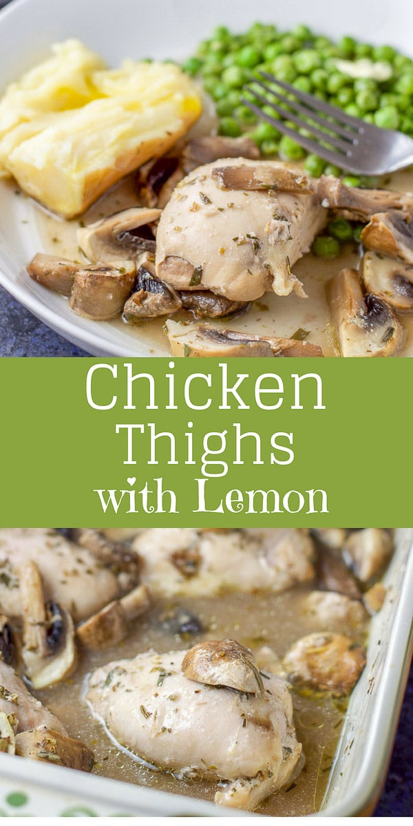 This chicken thighs with lemon is so scrumptious!  The lemon/wine sauce combined with herbs make the chicken so tender and delicious!  And add sliced mushrooms and you have the perfect meal. #chicken #chickenthighs #lemon #chickenwithlemon #dishesdelish #dishesdelishrecipes https://ddel.co/ctwl