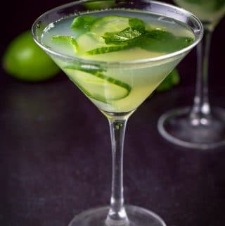 Close up of the cucumber mint martini