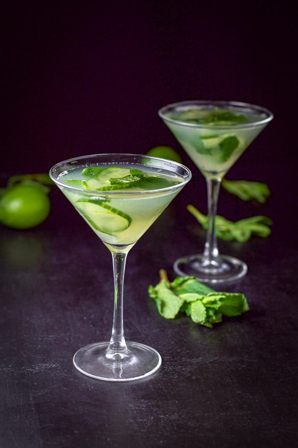 Farther away view of the cucumber mint martini