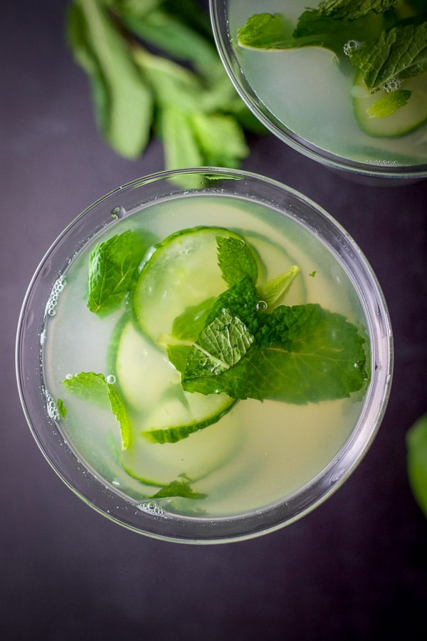 Overhead shot of the cucumber mint martini