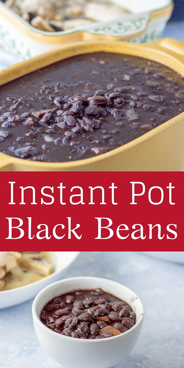 This Instant Pot black beans recipe is delicious and easy!  You'll never go back to canned beans once you taste this recipe!  The combination of vegetables, herbs and spices are what make these the perfect side dish! #beans #blackbeans #instantpot #sidedish #dishesdelish #dishesdelishrecipes https://ddel.co/ipbb