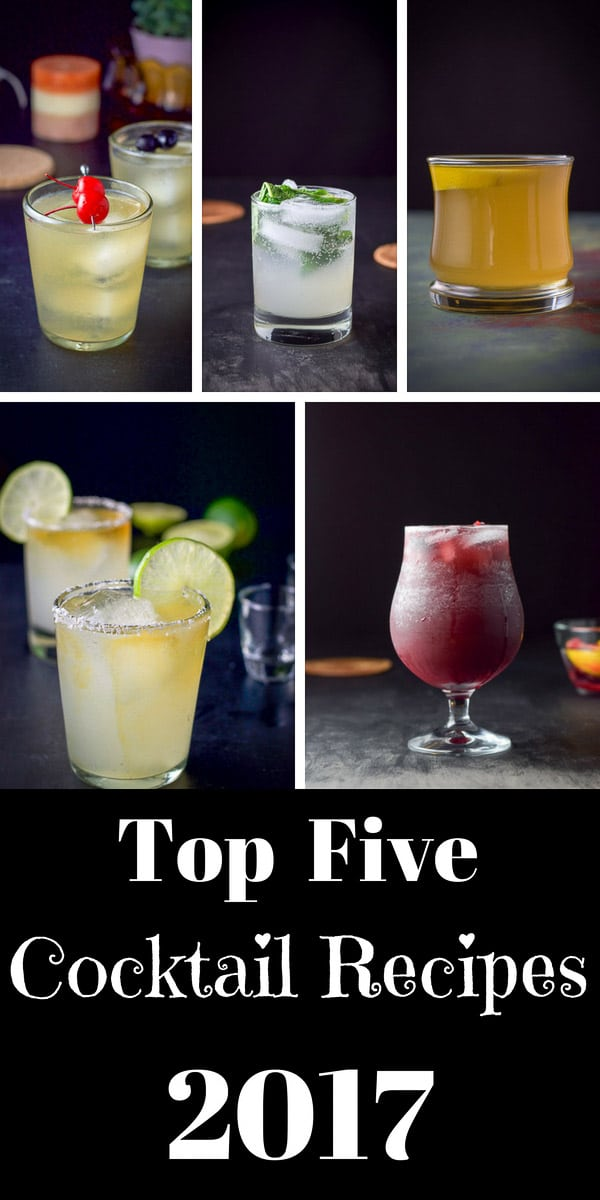 This is the top five 2017 cocktail recipes!!  No surprise that the margarita is number ONE!!  Check out the rest to see what drink made the cut!  #2017 #topfive #cocktails #drinks #dishesdelish #dishesdelishcocktails https://ddel.co/2017cr