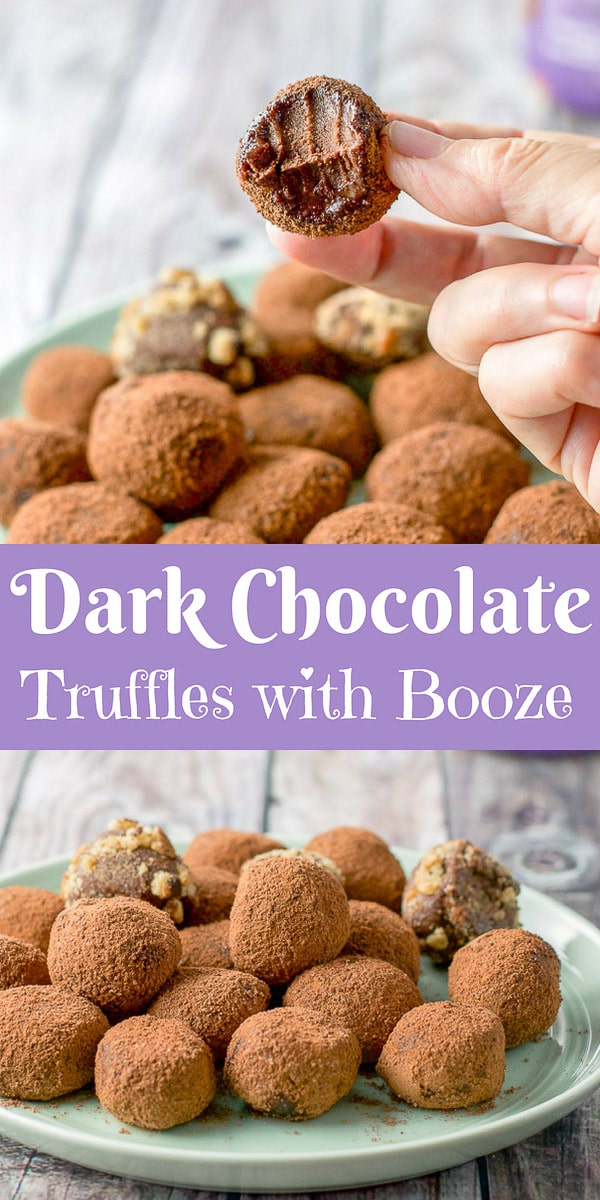 #ad These dark chocolate truffles have only 4 ingredients. They are soft, fudgy and have booze in them, which makes them decadent and delicious! #truffles #darkchocolate #boozetruffles #truffles #dishesdelishrecipes https://ddel.co/dct