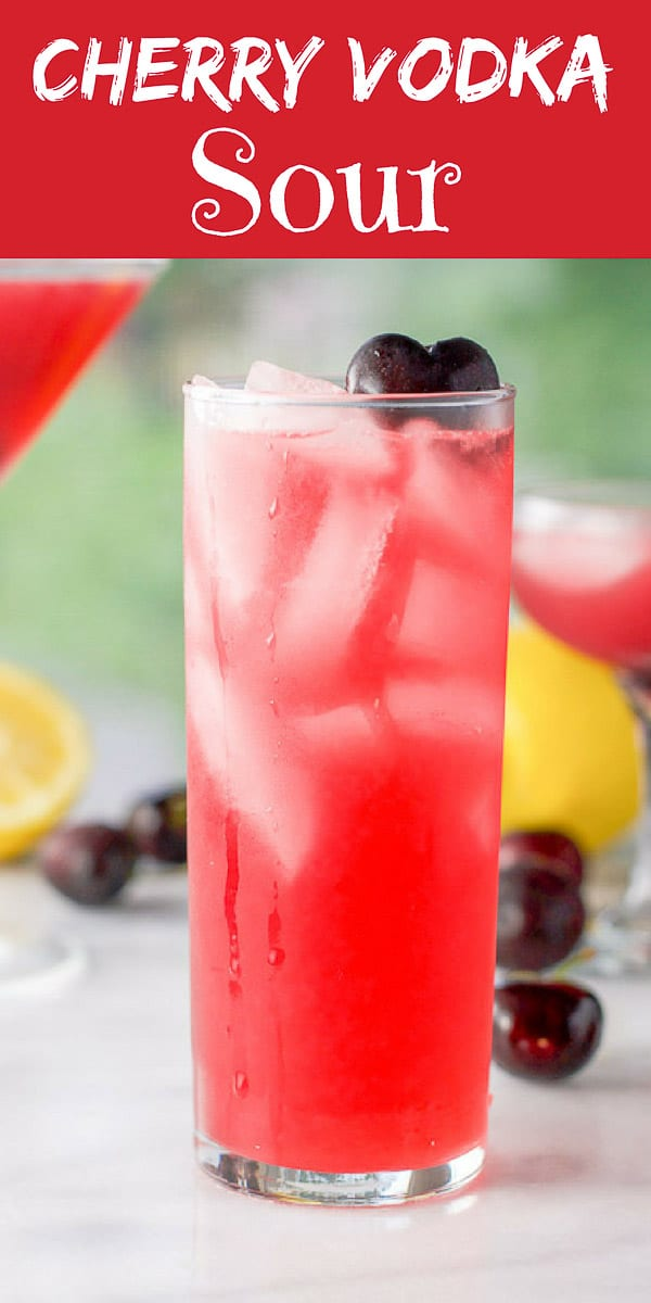 Only three ingredients in this cherry vodka sour recipe!  Cherry infused vodka, fresh lemon juice and simple syrup!  Refreshing and delicious! #vodka #sour #cherryvodka #dishesdelishrecipes