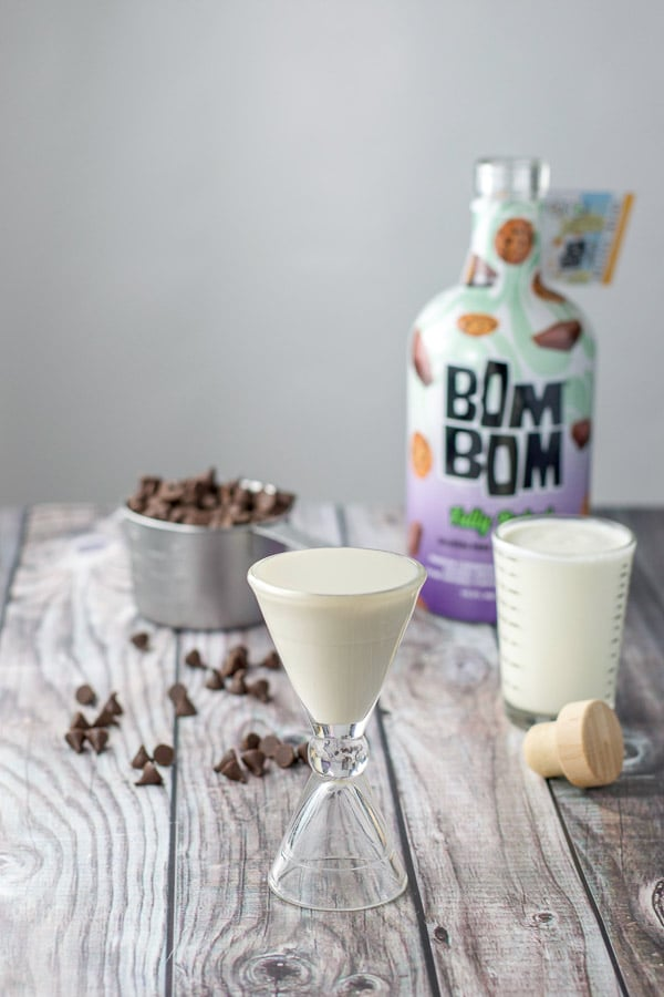 Bom Bom fully baked liqueur poured out along with the heavy cream, and chocolate chips poured out for the dark chocolate truffles