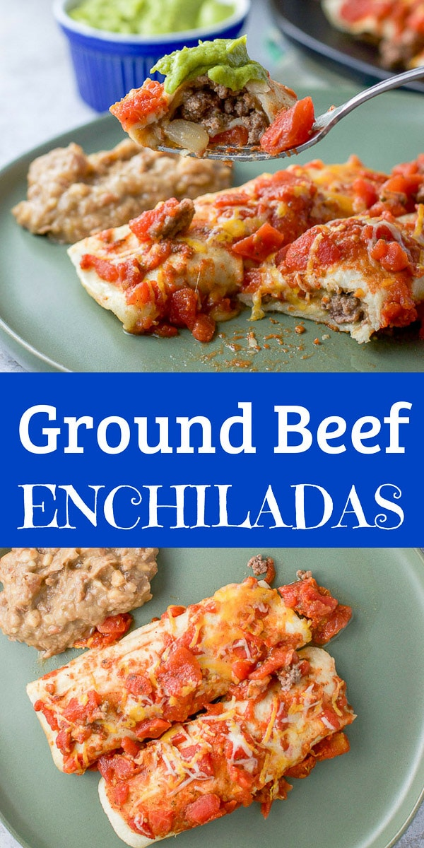 These ground beef enchiladas are not only easy but so tasty!  There are sautéed mushrooms and onions mixed with the ground beef which gives complements the dish!  Such a delicious and easy meal! #groundbeef #beef #Mexican #enchiladas #dishesdelishrecipes https://ddel.co/gbe