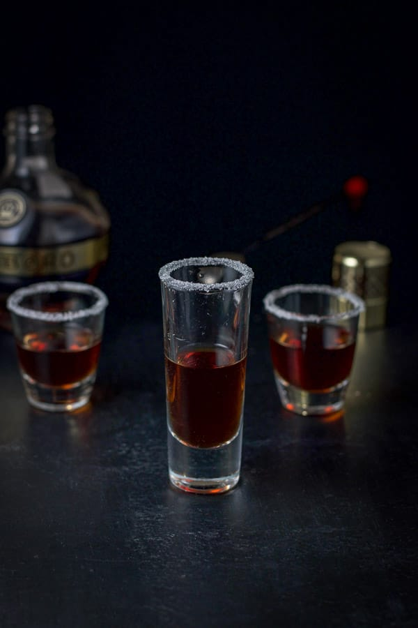 Chambord poured out into the sugar rimmed glasses for the jelly donut shot