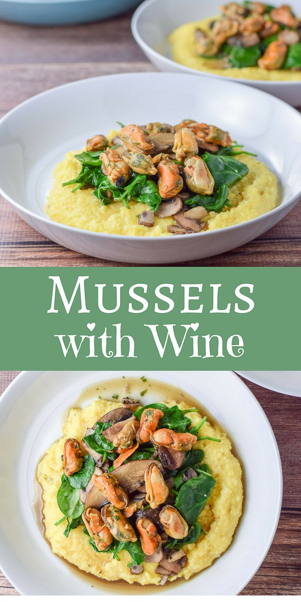Mussels with Wine Sauce on Creamy Polenta is such a treat! Sautéed in broth, butter and herbs make it such a yummy dish! And add some delicious veggies and plop it on polenta?  You have a great meal. #polenta #mussels #wine sauce #dishesdelish #dishesdelishrecipes https://ddel.co/mwws