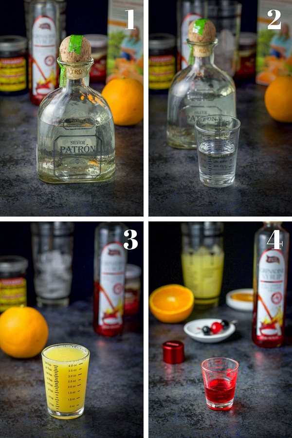 Process shots for the step by step shots for the tequila sunrise