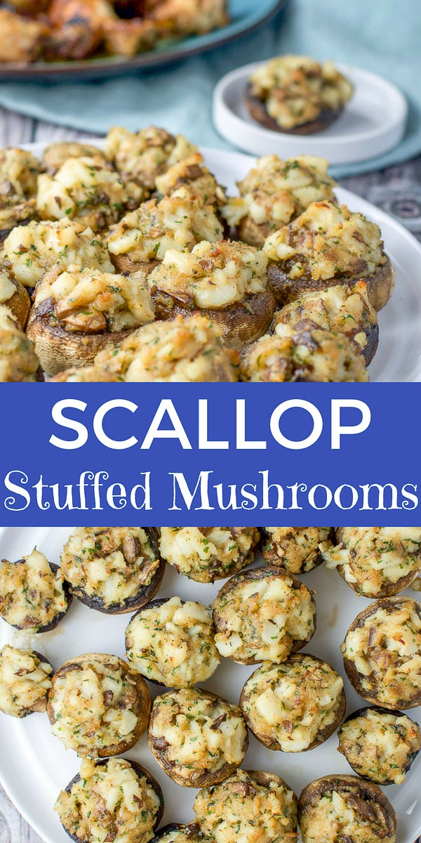 This scallop stuffed mushrooms recipe is so delicious and impressive that they will be talked about for years to come!  Perfect for your next dinner party or holiday! #scallops #stuffedmushroom #mushrooms #appetizer #dishesdelish #dishesdelishrecipes http://ddel.co/scallop-mushrooms