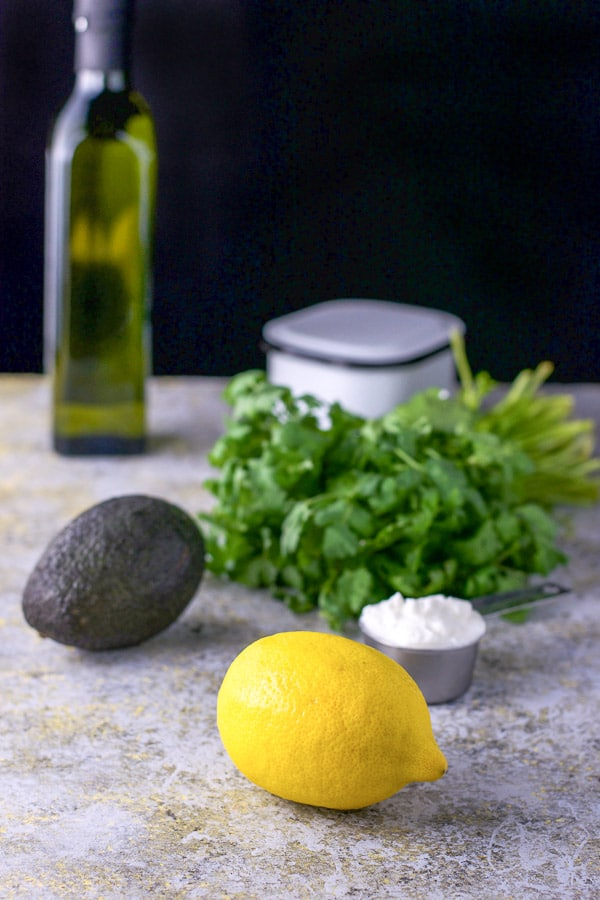 Lemon, yogurt, avocado cilantro and avocado oil for the avocado cilantro dressing