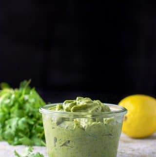 vertical view of the avocado cilantro dressing