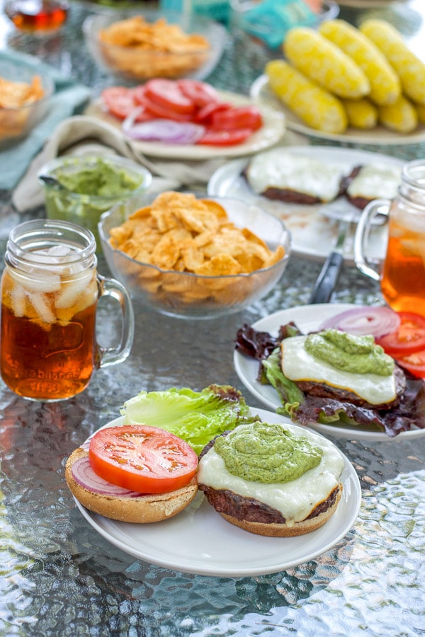 Avocado cilantro dressing on the burgers and all the summer fare