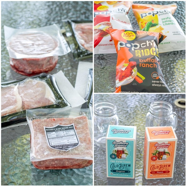 Meats, popchips and Iced tea bags for the avocado cilantro dressing
